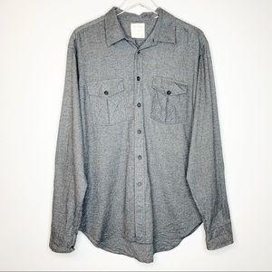 BILLY REID Mens Gray Standard Cut Cotton Shirt XL